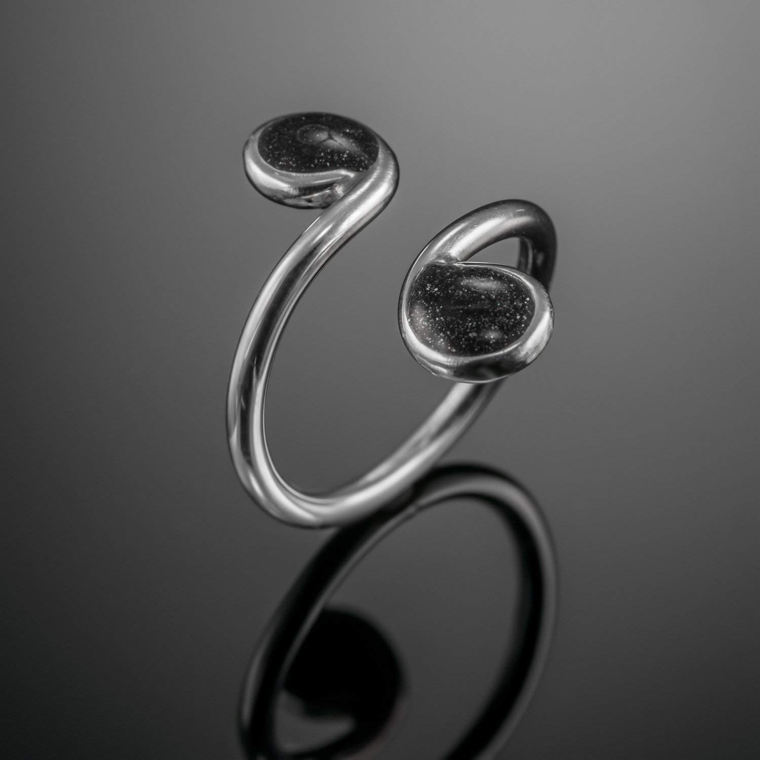 925 Silver Adjustable Open Ring, Unique Black sterling Silver Bohemian Band, Handmade Designer Jewelry