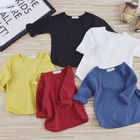 MS75208B Simple design kids plain pure cotton t-shirts