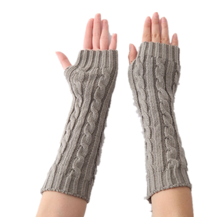 Winter Gloves Warm Knit Wool Fingerless Gloves Half Finger Cuff Gloves Long Mittens