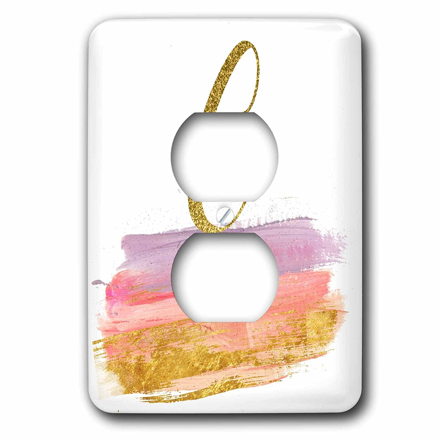 3dRose Anne Marie Baugh - Monograms - Modern Purple, Pink, Gold, Brush Strokes Monogram G - Light Switch Covers - 2 plug outlet cover (lsp_267747_6)