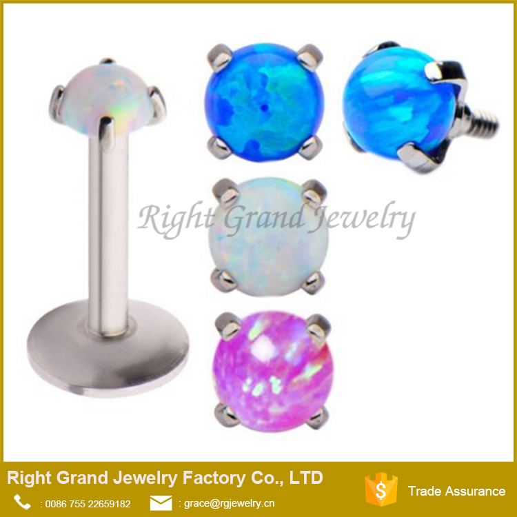 Surgical Steel Internally Threaded Prong Set Synthetic Opal Tragus Lip Ring Piercing