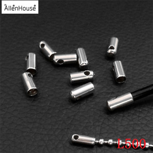 large big hole 4/5/6mm silver tone custom logo Customized stainless steel Metal Cylinder Cord End Cap Beads