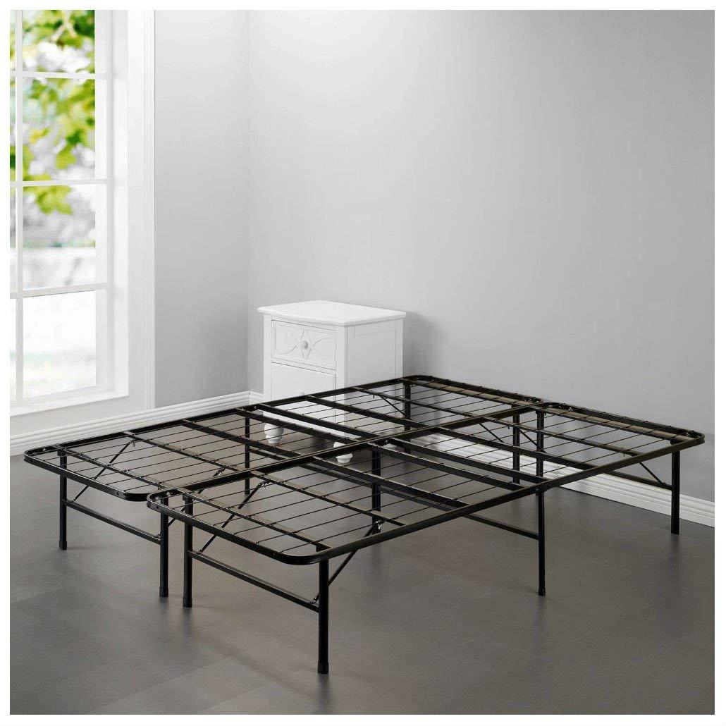 New Modern Bi-Fold Folding Platform Metal Bed Frame Mattress Foundation BF (QUEEN)