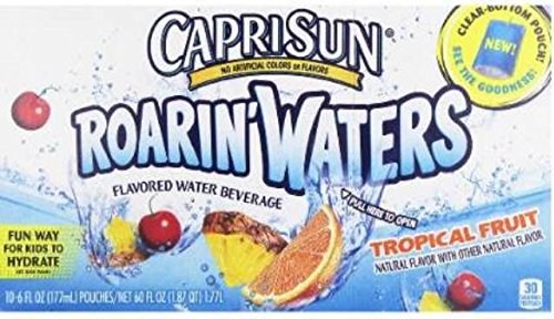 Capri Sun Roarin' Waters Flavored Water Beverage, Tropical Fruit, 10 Pouches