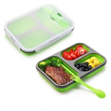 Food Grade <span class=keywords><strong>Verde</strong></span> di Colore Pieghevole Vano 3 Del Silicone Scatola di Pranzo di <span class=keywords><strong>Bento</strong></span>