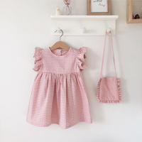 Kids Clothes 2019 New Arrival Contrast Linen summer plaid fabric Baby Girl dress