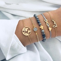 Fashion Jewelry Map Heart Letter Love Crystal Beads Chain Bracelet Multilayer Turtle Bracelet