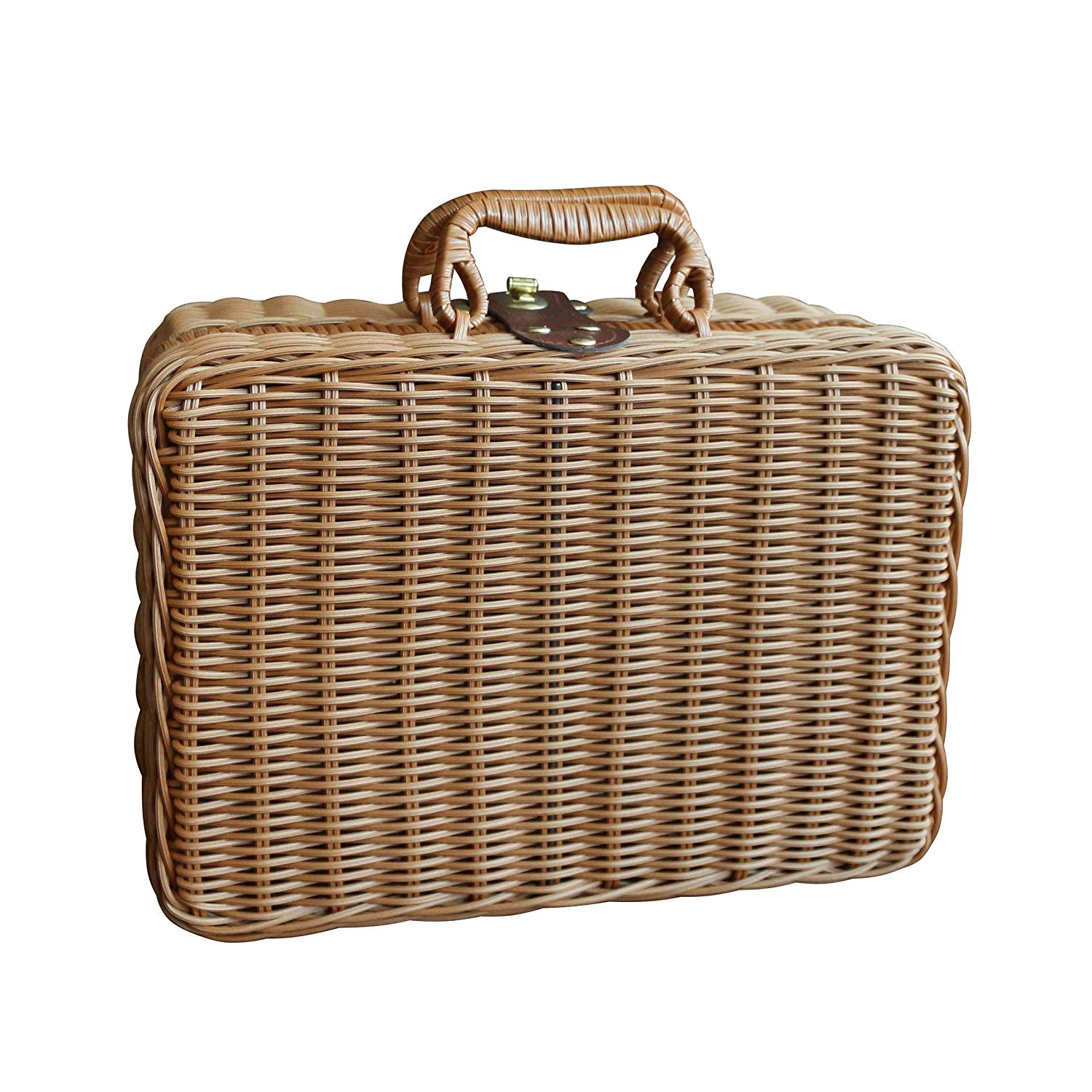 "CVHOMEDECO. Primitives Imitation Rattan Small Storage Case Travel Picnic Basket Tabletop Organizer Resin Wicker Suitcase Photography Props Box. Light Brown. 12"" X 5-1/4"" X 8-3/4""H"