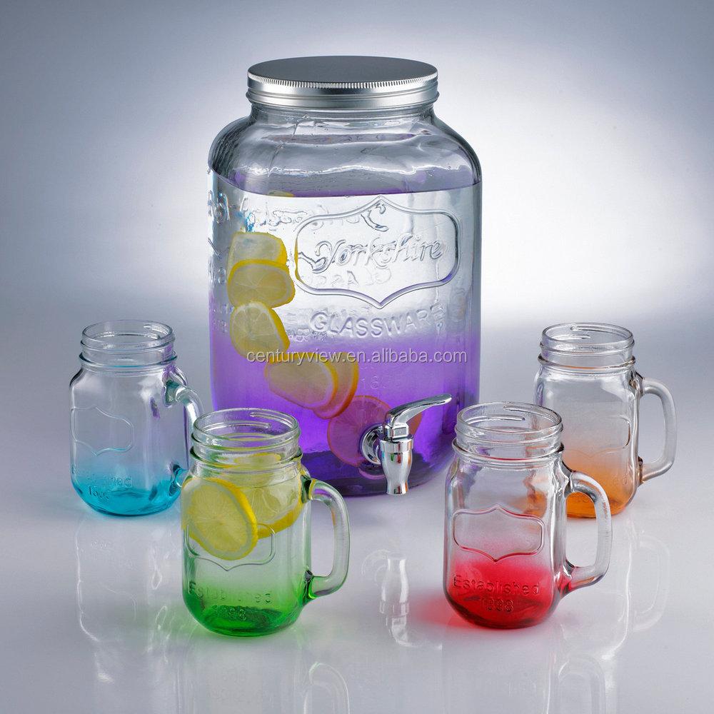 Mason jar jarra de jugo de vidrio dispensador de cristal buy product on - Vidrio plastico transparente precio ...