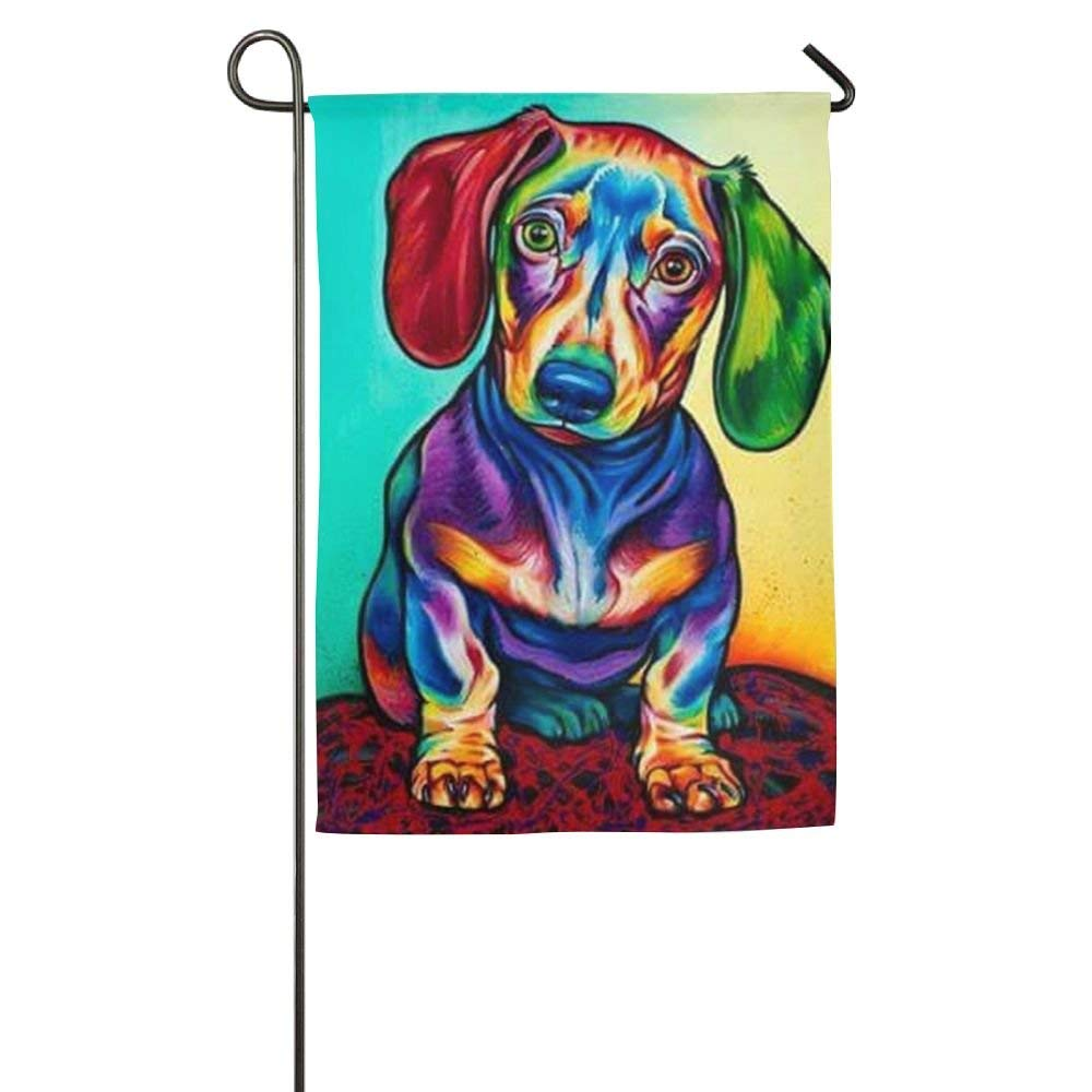 Get Quotations · Jul Sausage Dog Dachshund Decor Seasonal House Garden Flags  All Weather Polyester 12 X 18
