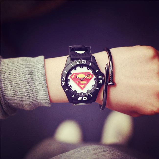 Hot Super Hero Men Casual Watches Silicone S Mark Cartoon Student Children Quartz Wristwatch Sport Clock for kid