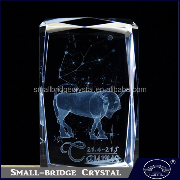 Hot sale 12 Zodiac Gifts Taurus Laser Engraved 3d Crystal