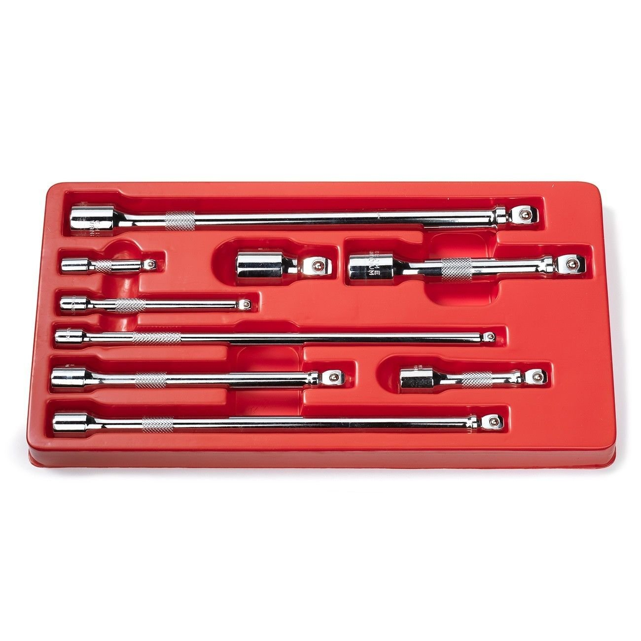 "ESKALEX>>9PC Drive Car Wobble Socket Extension Bar Hand Tool Set Kit Box 1/4"" 3/8"" 1/2"" And CrV >>Wobble End Extension Design >>Heat Treated and Fully Hardened"