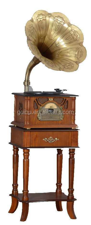 Hot Selling Wooden Antique Gramophone with Grass bugle CD/MP3/AUX/RADIO