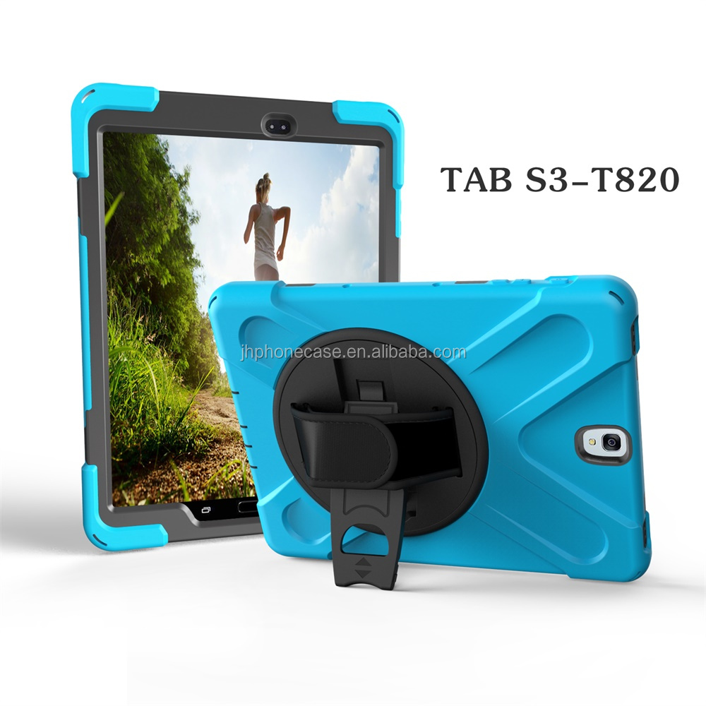 High impact waterproof dustproof rotation case for Galaxy tab S3 T820 case belt hand holder