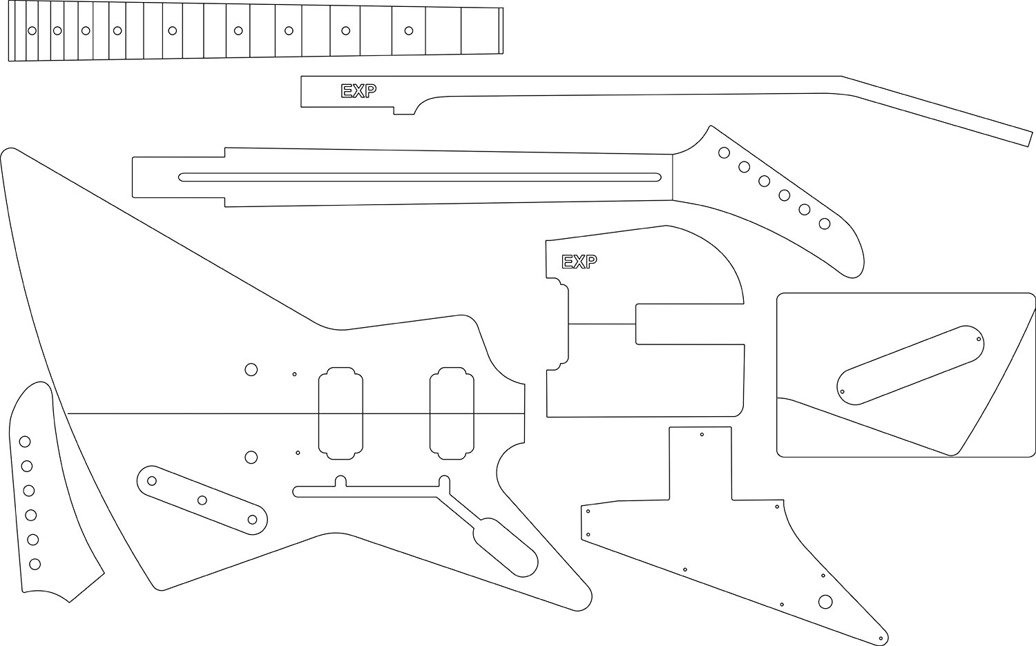 Electric Guitar Layout Template Explorer