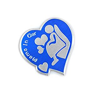 Car Mama in Car Stickers Design Funny Reflective Warning Waterproof Decal Universal (Blue)