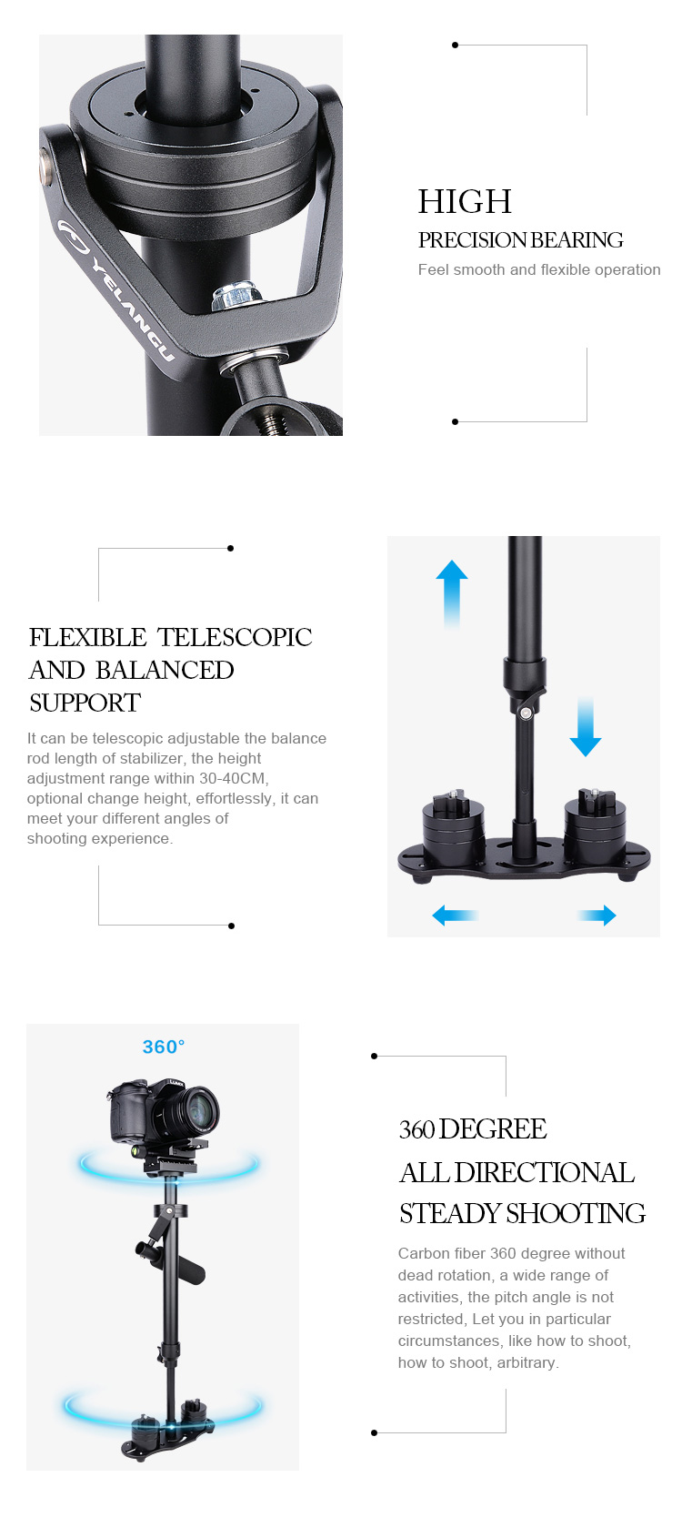 YELANGU Factory Price Portable Camera Stabilizer Professional Steadicam Camcorder Steadycam for Dlsr Video