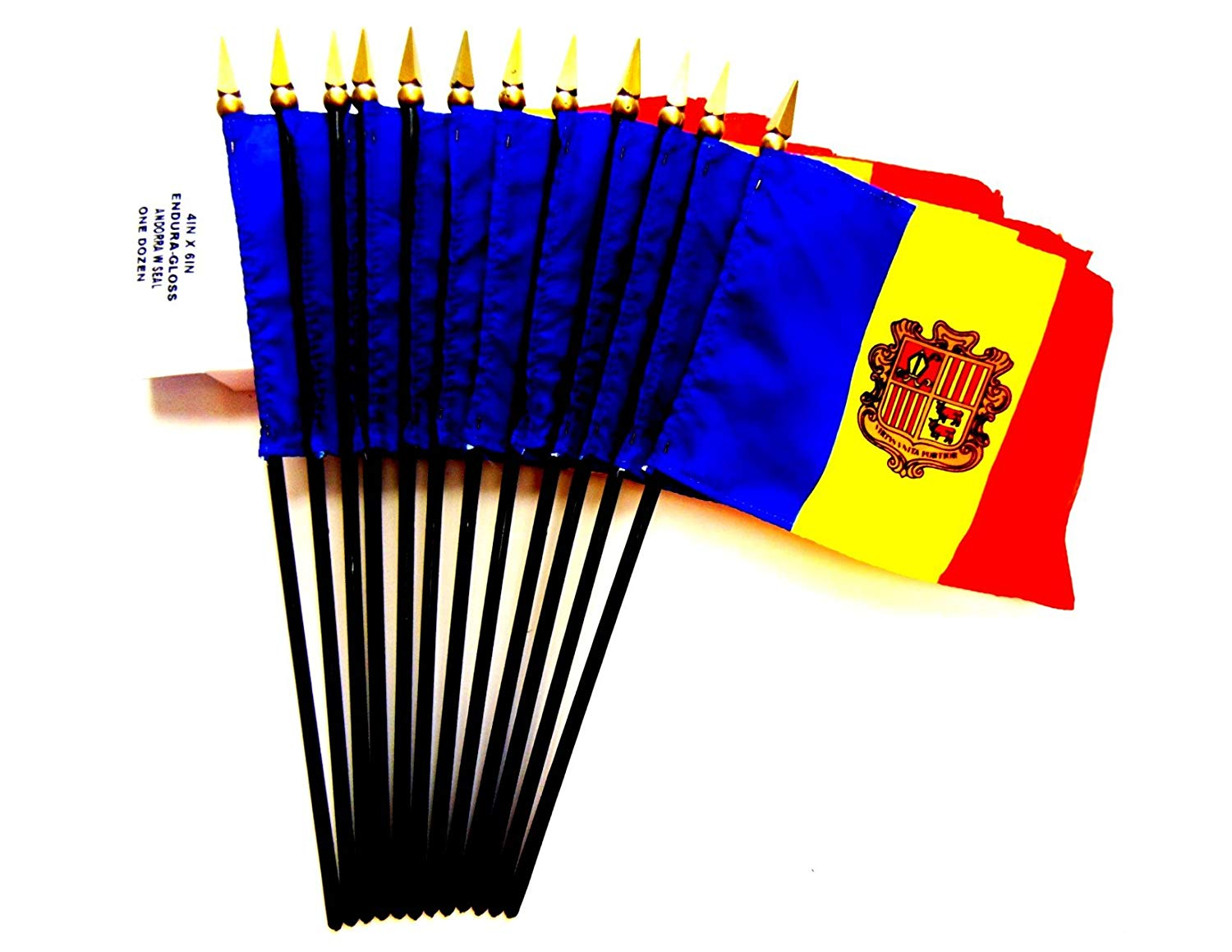 "MADE IN USA!! Box of 12 Andorra 4""x6"" Miniature Desk & Table Flags; 12 American Made Small Mini Andorran Flags in a Custom Made Cardboard Box Specifically Made for These Flags"