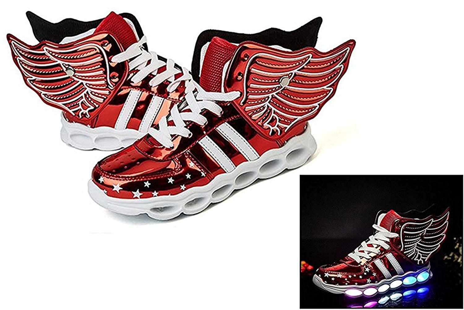 Wings LED Sneaker Kid Flash Glisten Shoes For Boys Girls USB Charge Casual Sneakers