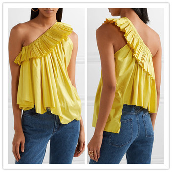 fe985c8b40f096 Front Neck Design of Suits Yellow Saree Blouse Fashion One Side Shoulder  Ruffle Top hst2077