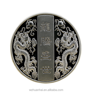 high quality custom chinese dragon shape 3D sliver coin