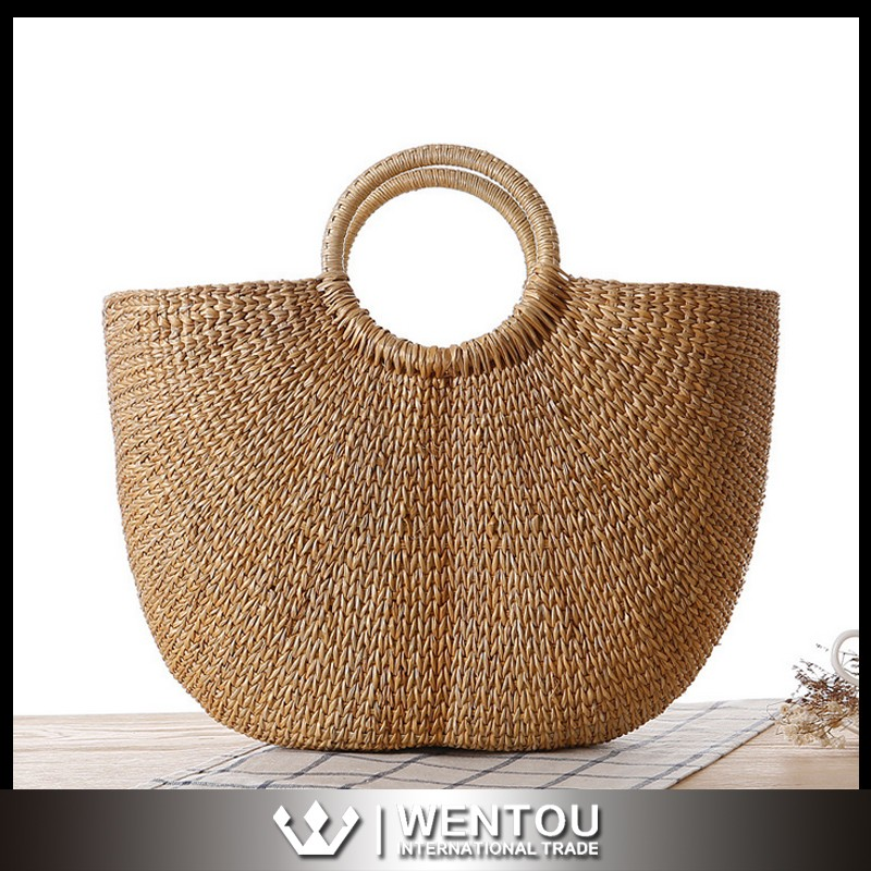 Wholesale Fashionable Round Beach Straw Tote Bag for Women