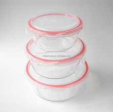 stackable heat resistant round ovenproof glass food container