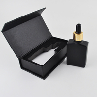 Empty essential oil 30ml square black frosted glass dropper bottle with gift box packaging luxury