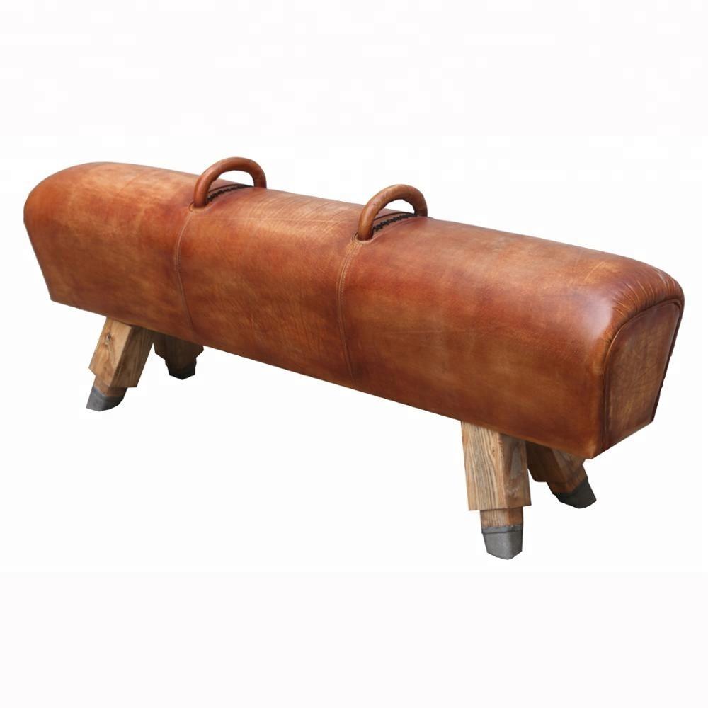 Antiker Langer Schicker Sattel Lederhocker Mit Holzgestell Buy