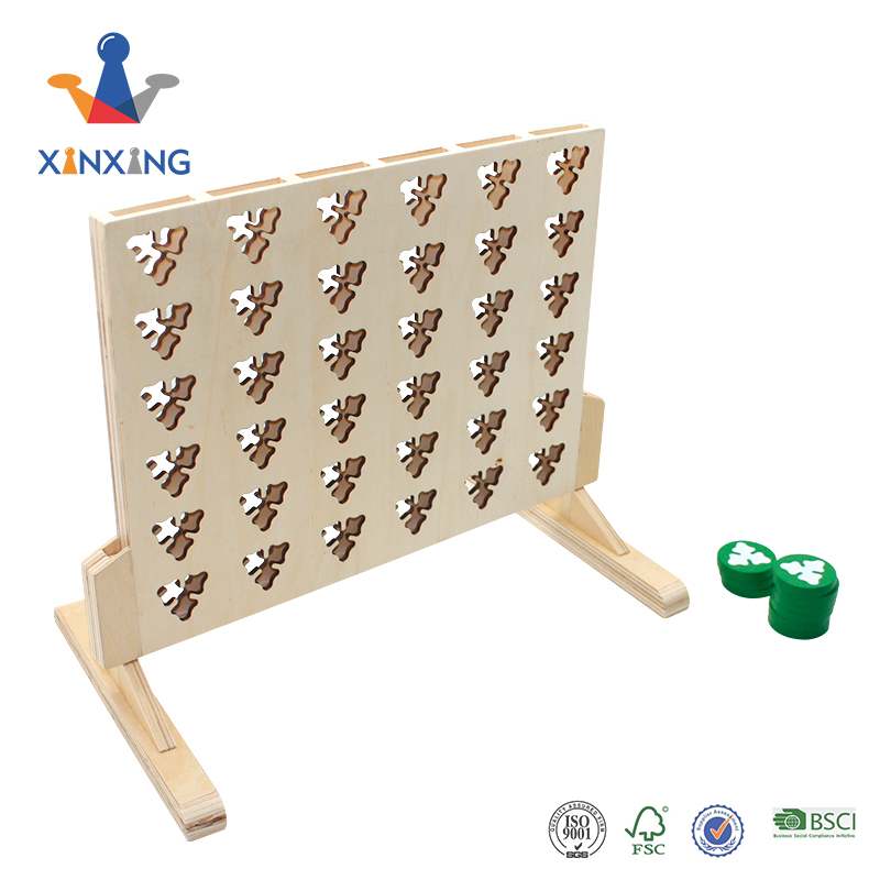 Classic game educational wooden connect 4 in a row game with butterfly,garden game toy