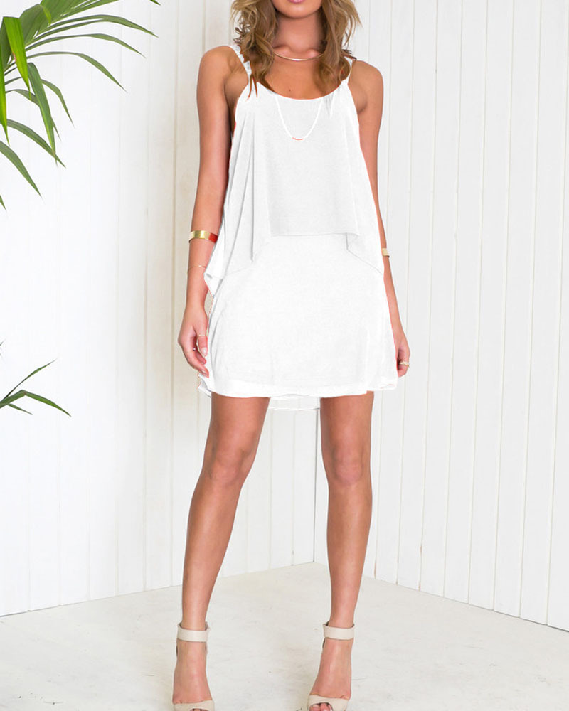 647a40a747d Get Quotations · New Cute White Women Summer Dress 2015 Hollow Out Mini  Loose Chiffon Party Dresses Beach Wear