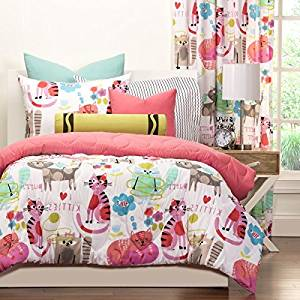 2 Piece Girls Kids Cat Comforter Twin, Cute Adorable Kittens Bedding for Children, All Over Kitty Kats Lovers Pink Themed, Beautiful Bright Colors!