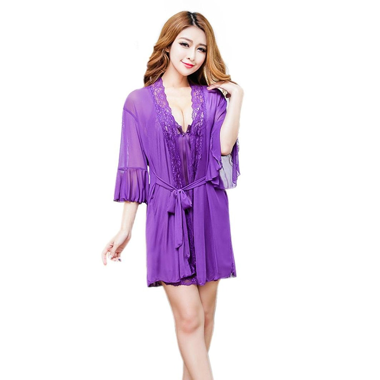 bda754b48e Get Quotations · JUNKE Women Robe Knee Length Sleepwear Sheer Kimono Robe  Shorts