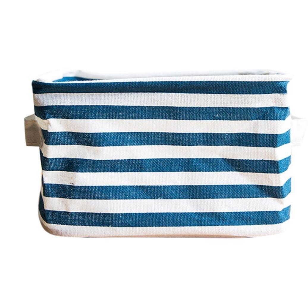 Cute Small Storage Bin,Foldable Colors Storage Bin Closet Toy Box Container Organizer Fabric Basket (Navy)