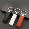 Factory OEM Logo Leather USB Flash Drives With Metal Ring