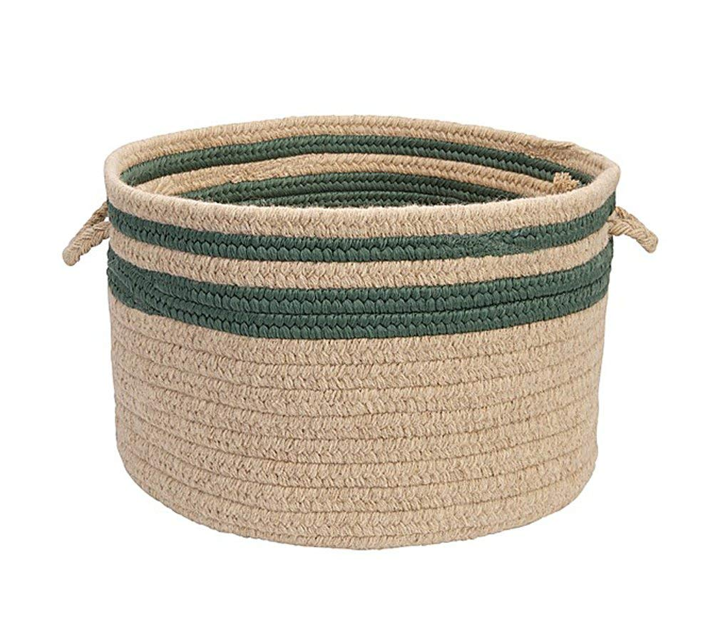 "Colonial Mills Home Decorative Cabin Stripe Storage - Myrtle Green 14"""" x10 Storage Basket, NEW"