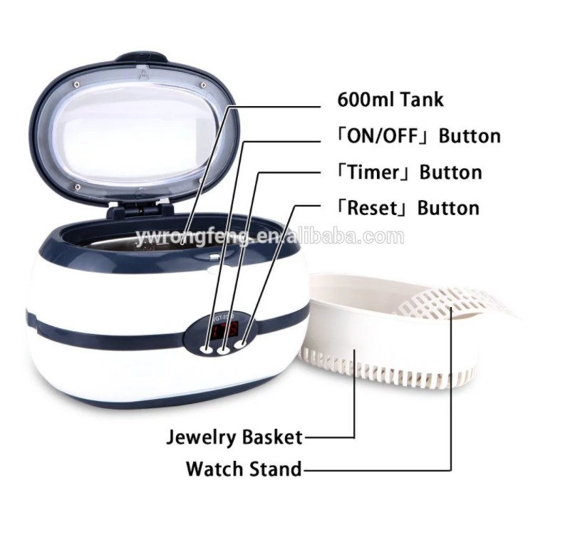 600ML VGT2000 Household Digital Ultrasonic Cleaner for Eyeglasses Jewelry CD Dental FMX-3