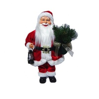 Wholesale promo gift holding twigs and lantern Fabric clothes Plastic Christmas Santa Claus