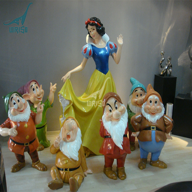 customized snow white and the seven dwarfs garden cartoon statue