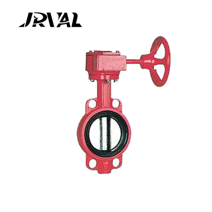 JRVAL worm gear operated wafer type butterfly valve