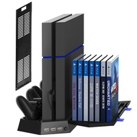 Vertical Stand for PS4 Slim / PS4 Console ,Cooling Fan Controller Charging Station with Game Storage For Playstation 4