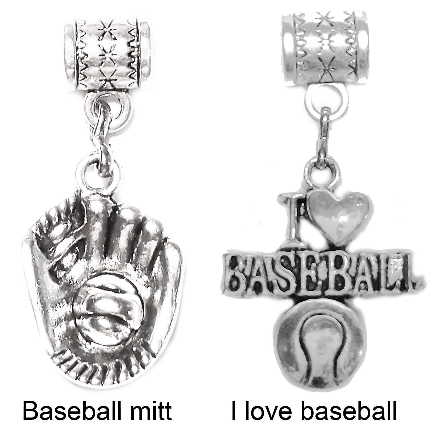 """Baseball Mitt charm"" or ""I Love Baseball charm"" silver charm by Mossy Cabin for modern large hole snake chain charm bracelets, or add to a neck chain, pendant necklace or key chain. Your choice"