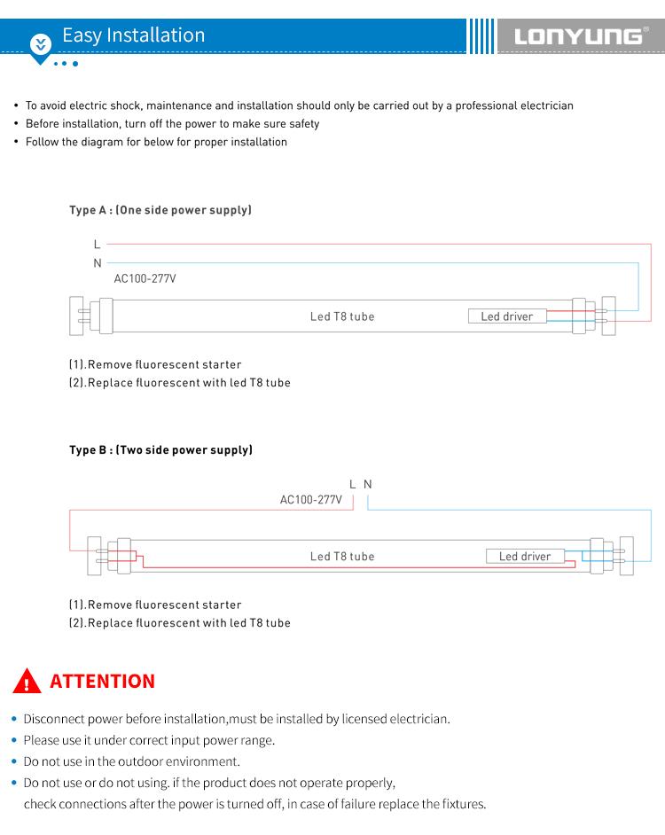 T8 बेहतर गुणवत्ता ट्यूब 50000 घंटे उम्र smd2835 t8 रिचार्जेबल ट्यूब रोशनी का नेतृत्व किया