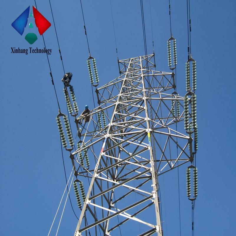 high voltage electrical 4 legged lattice tower structural design of steel pole electric power transmission