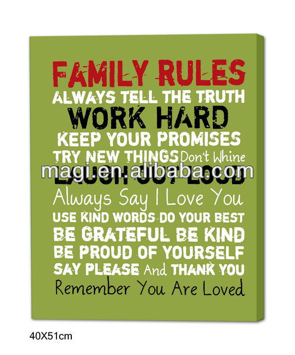 2013 Family Rules Vintage Canvas Oil Painting