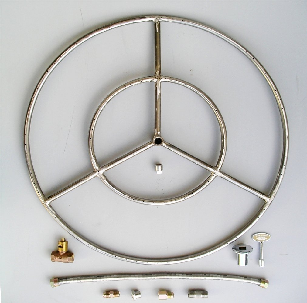 """Fire Pit Ring, 27"""" Diameter Stainless Steel Burner Ring Kit with Connectors"""