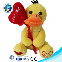 Valentine stuffed animals plush yellow duck toy with red heart