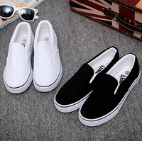 ZY0360A women slip-on white plain canvas shoes