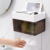 Multifunctional bathroom kitchen plastic wall mounted tissue box holder with garbage bag storage box and shelf